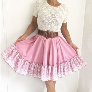 Vintage Western Square Dance Skirt Pink W/ Lace
